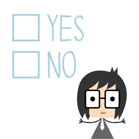 to decide: businessman has to decide yes or no, Illustration Illustration