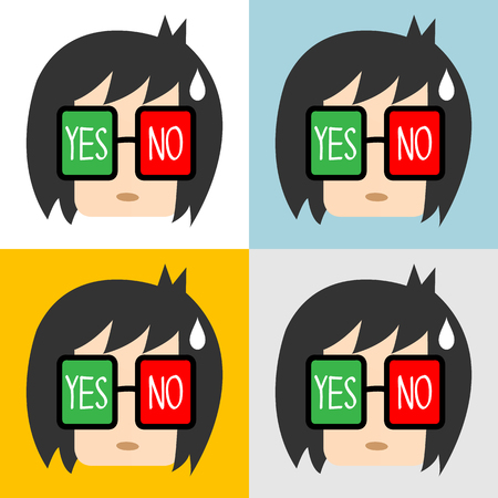 yes or no: of Businessman with yes or no sign in eyes, Illustration