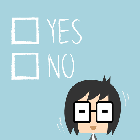 yes or no: businessman has to decide yes or no, Illustration