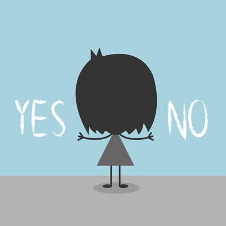 yes or no: businessman and a choice of yes or no, Illustration  Illustration