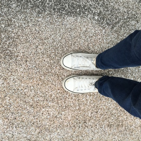 Foot and legs seen from above. Selfie great for any use. Standard-Bild