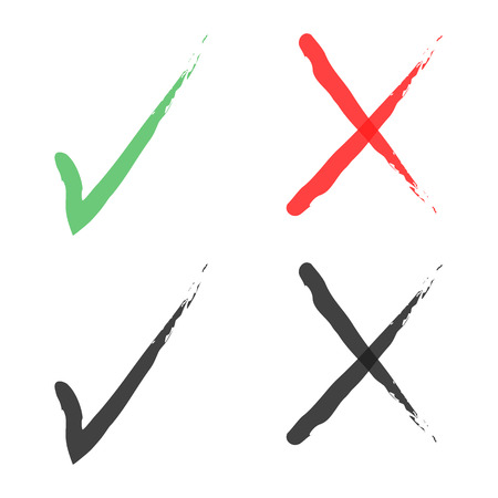 with green and red hand drawn grungy check mark