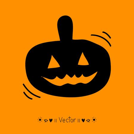 trickster: Vector childlike drawing of Halloween pumpkin.  Illustration