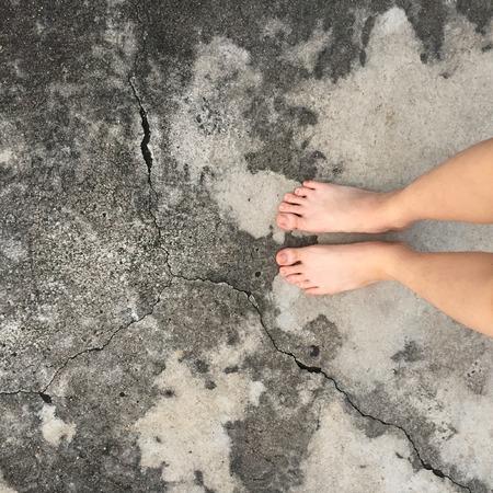 bare feet: Selfie of woman bare feet on floor