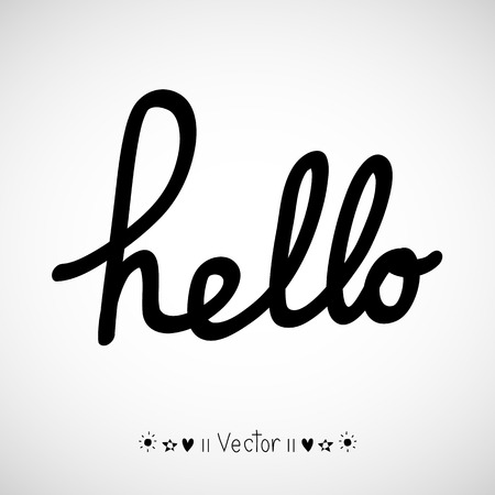 hello: Hello calligraphic lettering with outline hand drawn, Illustration EPS10 Illustration