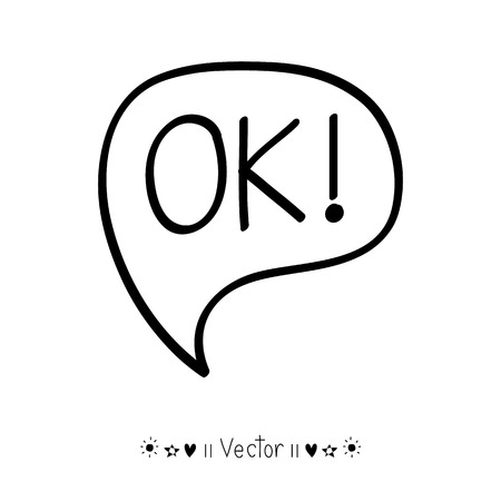 ok: Vector hand-lettering ok on a black background vintage card, Illustration EPS10 great for any use.