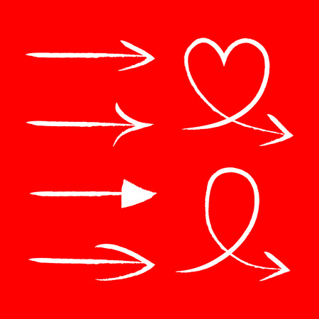 background red: Vector set of hand drawn arrows, Illustration EPS10 great for any use.