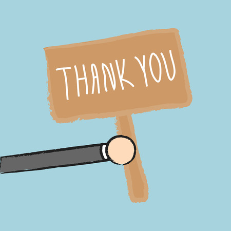 man holding card: Vector businessman holding thank you sign, Illustration EPS10 great for any use. Illustration