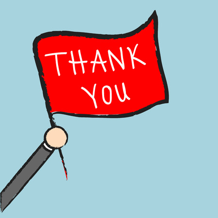 Vector businessman holding thank you sign, Illustration EPS10 great for any use. Stock Illustratie