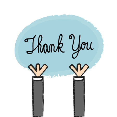 woman holding card: Vector businessman holding thank you sign, Illustration EPS10 great for any use. Illustration