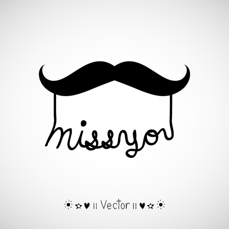miss you: Vector hand drawn miss you card, Illustration EPS10 Illustration