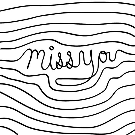 Vector hand drawn miss you card, Illustration EPS10 向量圖像