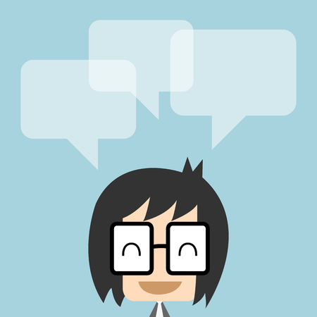any: Vector businessman with dialog speech bubbles, Illustration   great for any use.