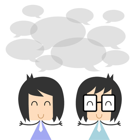 discussing: Vector two business people talking and discussing. flat character design