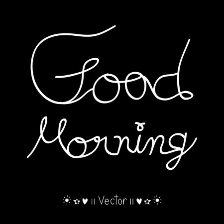 Vector good morning, hand lettering text, handmade calligraphy, Illustration   일러스트