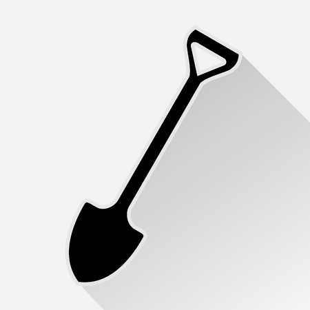 shovel in dirt: silhouette of shovel or spade to work in the garden