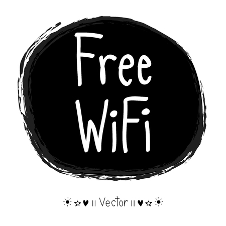 wifi icon: Vector hand drawn free wifi icon, Illustration EPS10 great for any use.