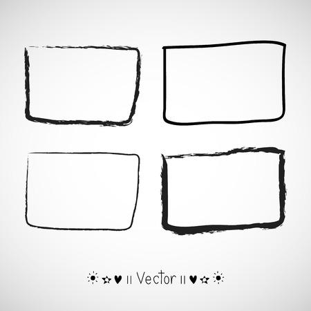 hand pencil: Vector set hand drawn rectangle, felt-tip pen objects.