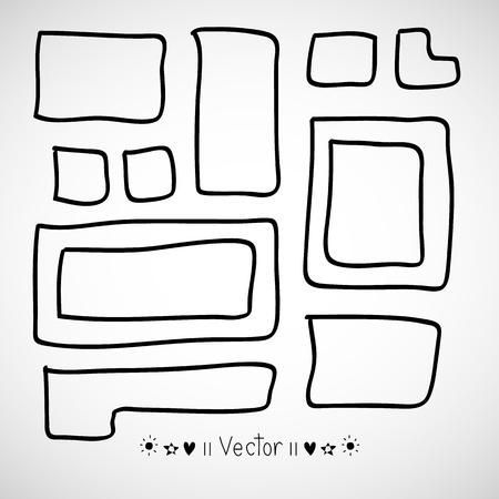 rectangle: Vector set hand drawn rectangle, felt-tip pen objects.
