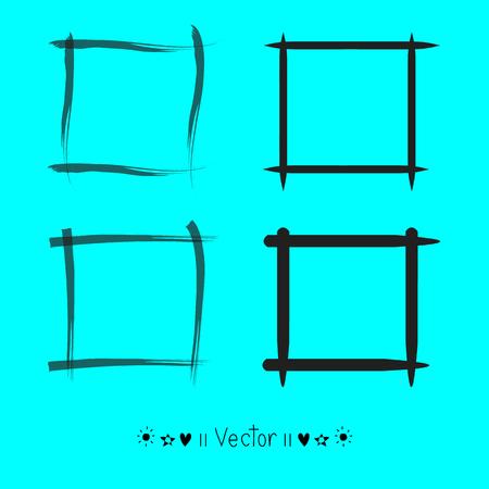scrawl: Vector set hand drawn rectangle, felt-tip pen objects.