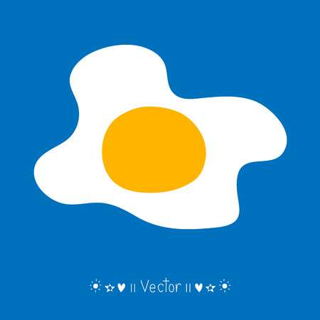 scrambled: Vector scrambled eggs icon, Fried egg.  Illustration