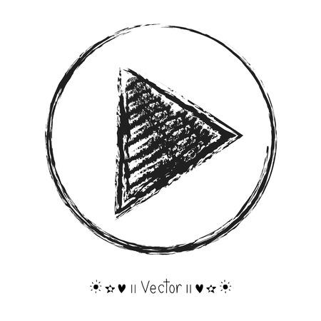 Vector hand getrokken Play Icon, Sketch Symbol. Illustratie EPS10 groot voor om het even welk gebruik.