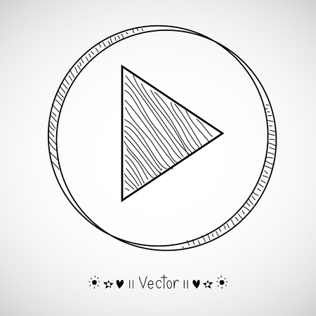play icon: Vector Hand Drawn Play Icon, Sketch Symbol. Illustration EPS10 great for any use.