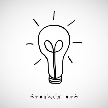 Vector gloeilamp pictogram met concept van het idee. Doodle hand getekende teken. illustratie EPS10