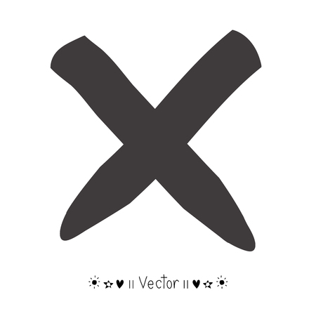Vector hand geschilderd X merken. Illustratie EPS10 groot voor om het even welk gebruik. Stock Illustratie