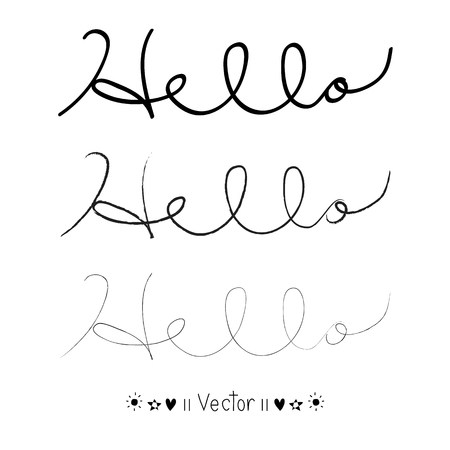 writting: Hello calligraphic lettering with outline hand drawn, Illustration  great for any use.