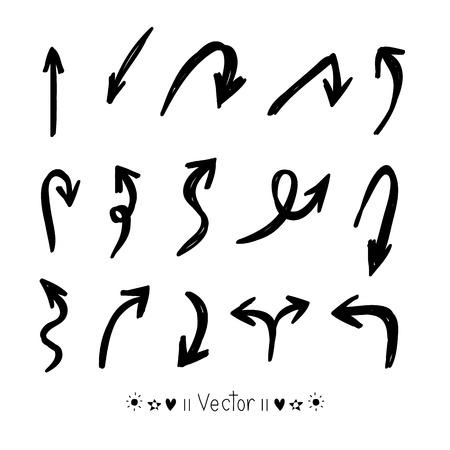 around the clock: Vector set of hand drawn arrows