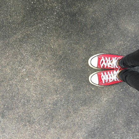 Selfie of Sneakers Great For Any Use. Standard-Bild