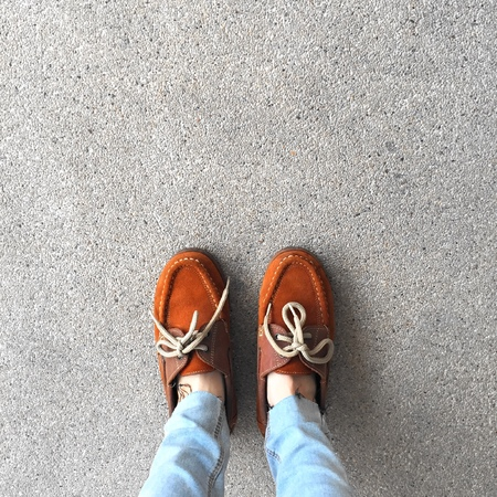carpet clean: Selfie Of Shoes With Doormat Great For Any Use. Stock Photo