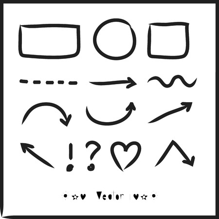 any: Arrows circles and abstract doodle writing design vector set great for any use. Illustration