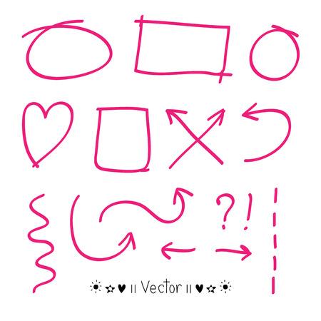 Pfeile Kreisen und abstrakten doodle Schrift Design Vektor-Set für jede mögliche Anwendung. Illustration