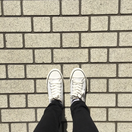 denim: White Sneakers shoes walking on ground