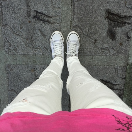 white: White Sneakers shoes walking on ground