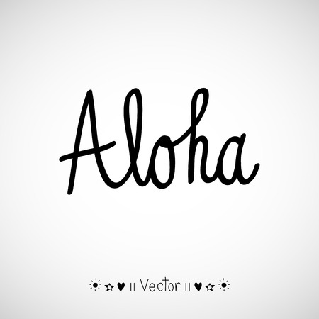 Vector aloha word in retro colors, vintage background great for any use.