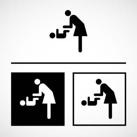 pictograph: Vector symbol for women and baby , baby changing great for any use. Illustration