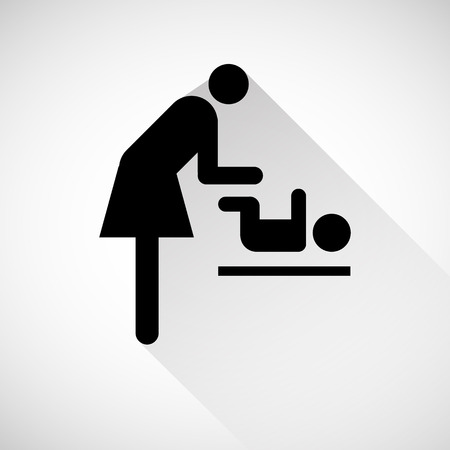 changing room: Vector symbol for women and baby , baby changing