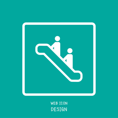 pedestrian walkway: Vector Escalator Icon Great For Any Use.