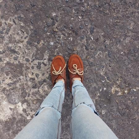 denim: Selfie Of Shoes With Doormat