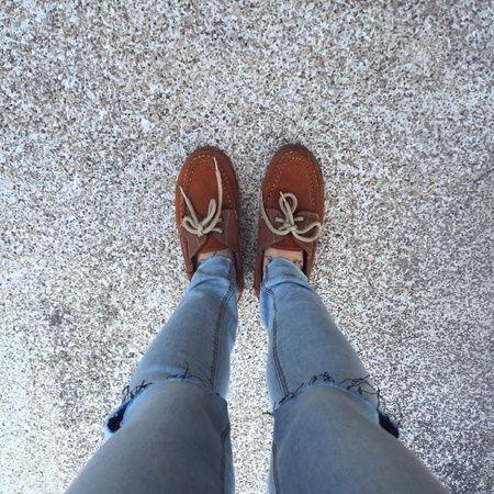 denim jeans: Selfie Of Shoes With Doormat