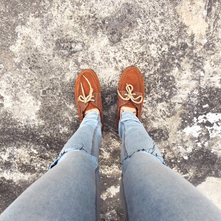 bluejeans: Selfie Of Shoes With Doormat