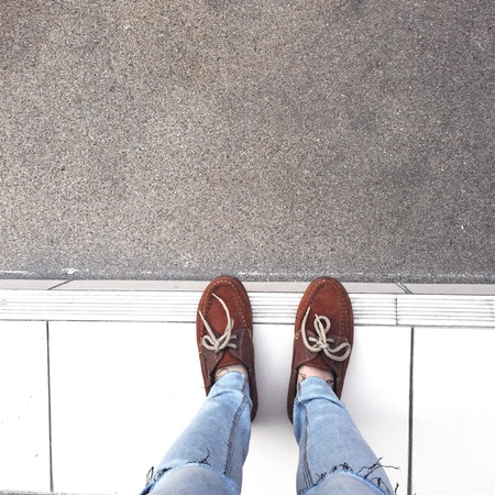 urban: Selfie Of Shoes With Doormat