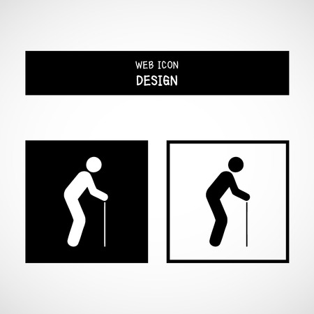 old man standing: Vector Old Man Icon Great For Any Use.