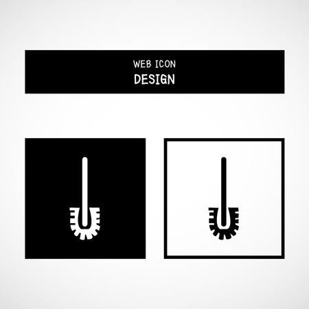 toilet brush: Vector toilet brush cartoon icon. Toilet tool great for any use. Illustration