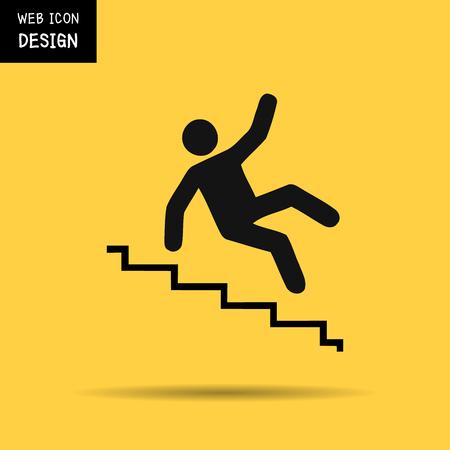 down stairs: Vector ilustración de advertencia resbaladizo escaleras signo aislado sobre fondo amarillo grande para cualquier uso. Vectores