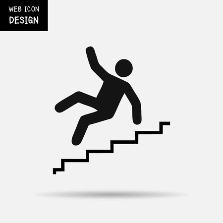 stumbling: Vector Slippery stairs warning sign illustration isolated on white background great for any use.