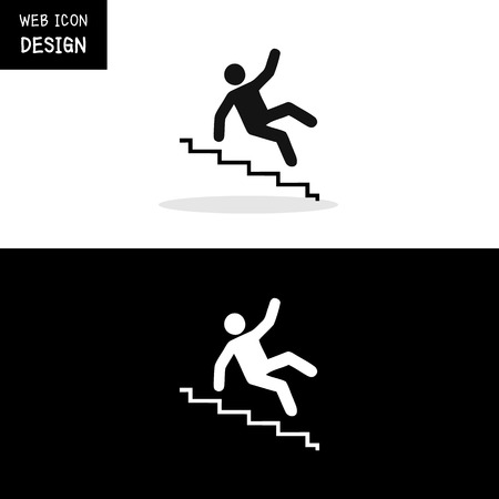 shadow people: Vector Slippery stairs warning sign illustration isolated on white background great for any use.